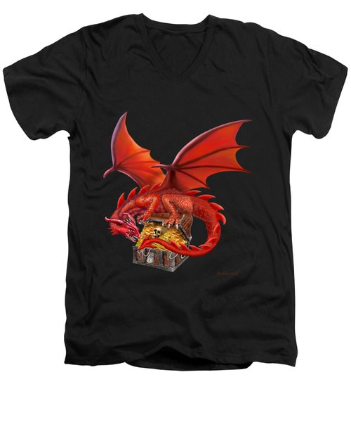 Red Dragon's Treasure Chest Men's V-Neck T-Shirt by Glenn Holbrook