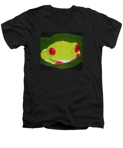 Red Eyed Tree Frog Men's V-Neck T-Shirt by Jo Baner