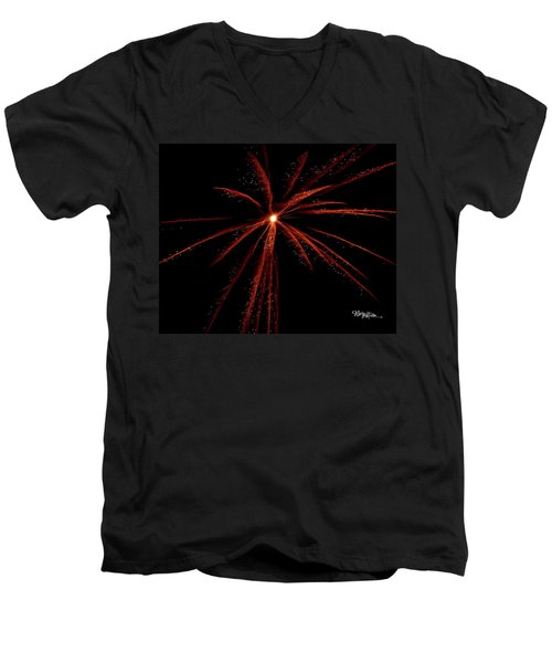 Men's V-Neck T-Shirt featuring the photograph Red Fireworks #0699 by Barbara Tristan