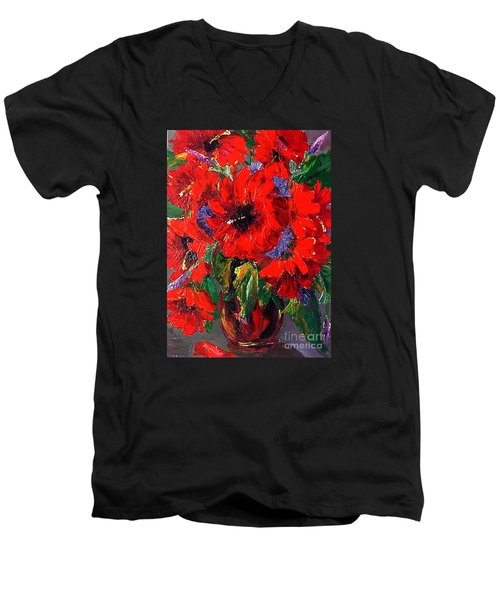 Red Floral Men's V-Neck T-Shirt