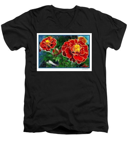 Men's V-Neck T-Shirt featuring the photograph Red Flower In Autumn by Joan  Minchak