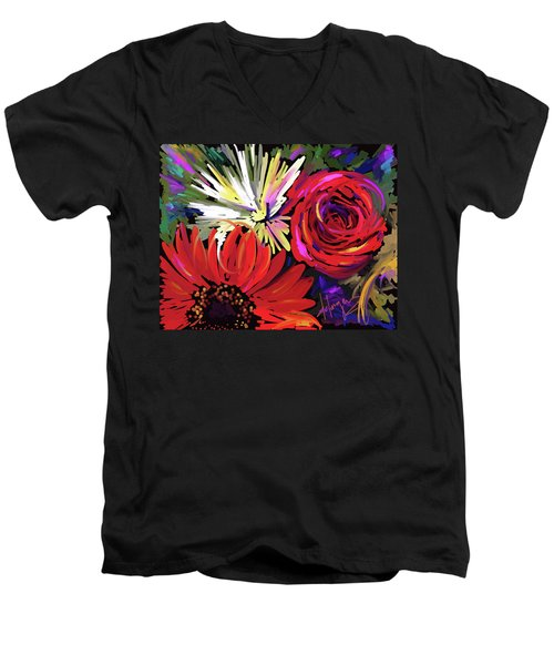 Men's V-Neck T-Shirt featuring the painting Red Flowers by DC Langer