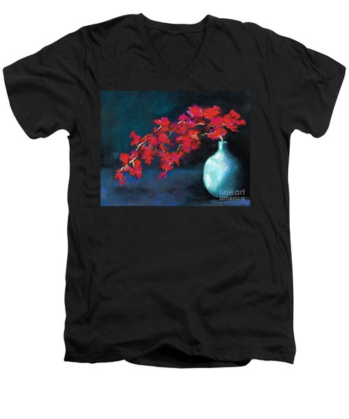 Men's V-Neck T-Shirt featuring the painting Red Flowers by Frances Marino