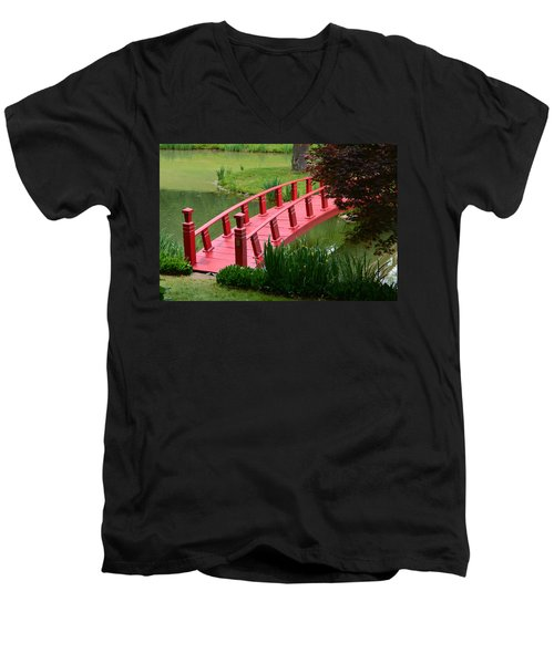 Red Garden Bridge Men's V-Neck T-Shirt