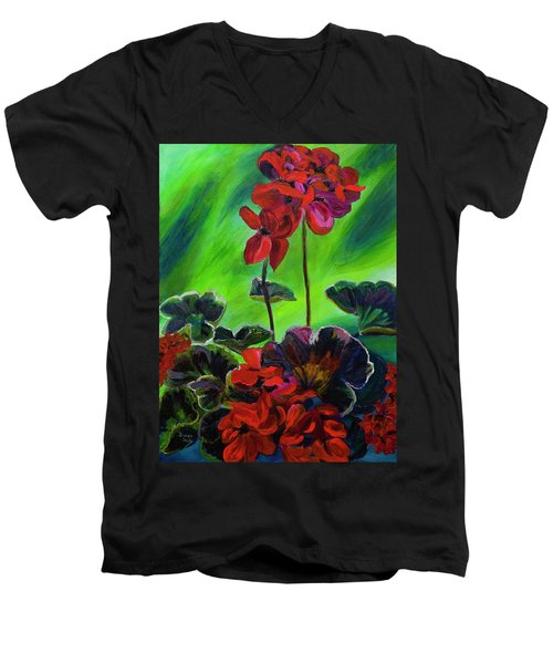 Red Geranium Men's V-Neck T-Shirt