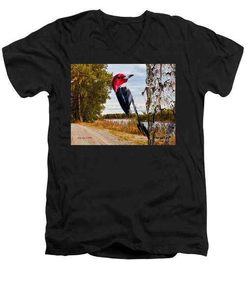 Men's V-Neck T-Shirt featuring the photograph Red Headed Woodpecker In Wilderness by Annie Zeno
