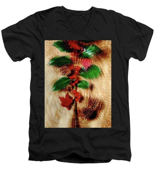 Red Holly Spinning Men's V-Neck T-Shirt