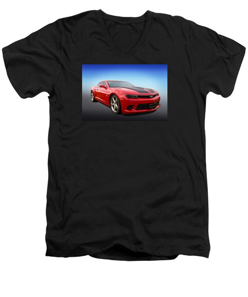 Men's V-Neck T-Shirt featuring the photograph Red Hot Camaro by Keith Hawley