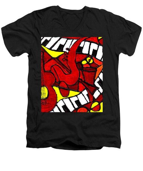 Red Hot Jazz Men's V-Neck T-Shirt
