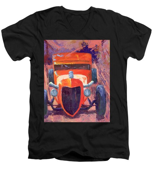 Red Hot Rod Sedan Men's V-Neck T-Shirt
