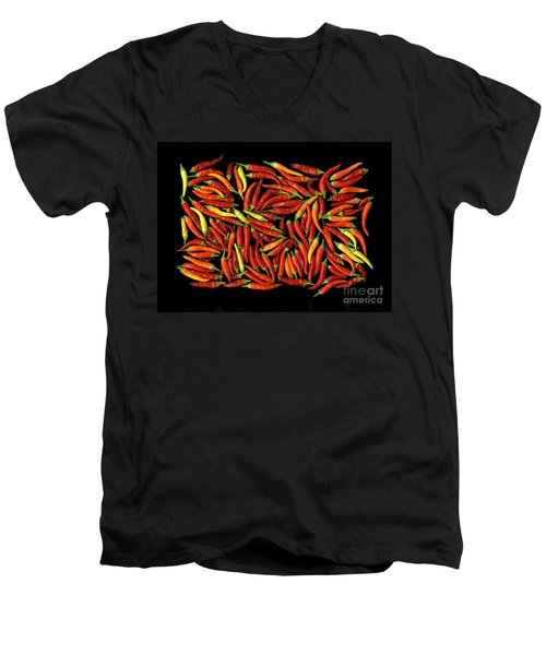 Red Hots Men's V-Neck T-Shirt by Christian Slanec