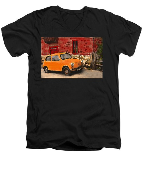 Red House With Orange Car Men's V-Neck T-Shirt
