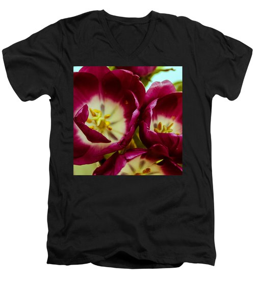 Men's V-Neck T-Shirt featuring the photograph Red Lips by Bobby Villapando