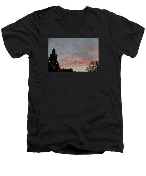 Red Morning Cloud 2 Men's V-Neck T-Shirt by Yumi Johnson