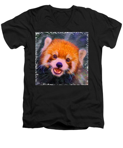 Red Panda Cub Men's V-Neck T-Shirt