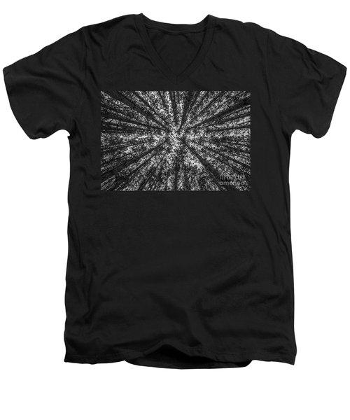 Red Pine Tree Tops In Black And White Men's V-Neck T-Shirt