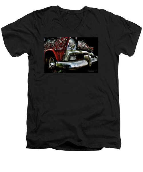Red Plymouth Belvedere Men's V-Neck T-Shirt