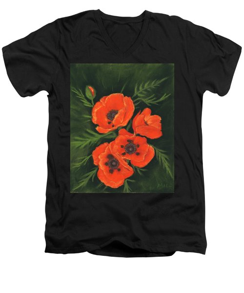 Men's V-Neck T-Shirt featuring the painting Red Poppies by Anastasiya Malakhova