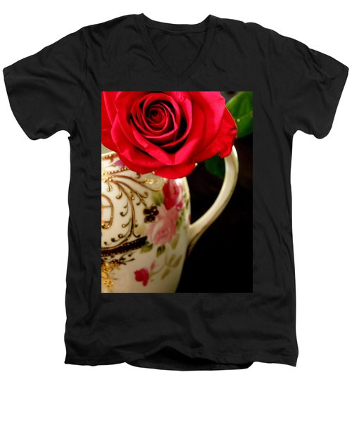 Red Red Rose Men's V-Neck T-Shirt by Lainie Wrightson