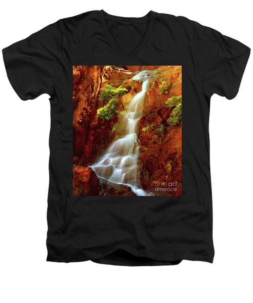 Men's V-Neck T-Shirt featuring the painting Red River Falls by Peter Piatt