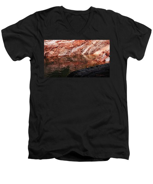 Red River Men's V-Neck T-Shirt by Donna Blackhall