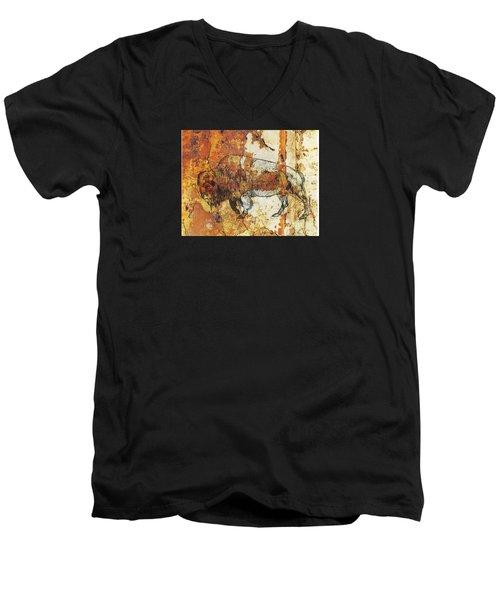 Red Rock Bison Men's V-Neck T-Shirt