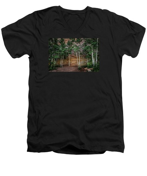 Red Rock Wall Men's V-Neck T-Shirt by Mary Angelini