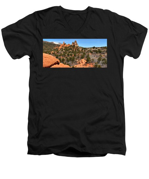Men's V-Neck T-Shirt featuring the photograph Red Rocks At High Point by Adam Jewell