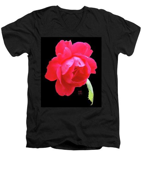 Red Rose Cutout Men's V-Neck T-Shirt