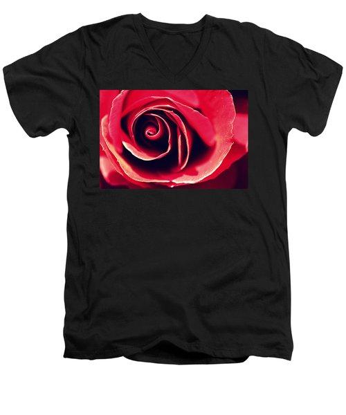 Red Rose Men's V-Neck T-Shirt by Joseph Skompski