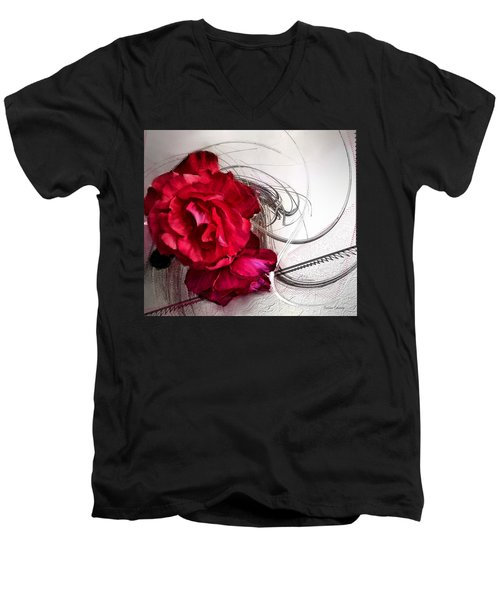 Red Roses Men's V-Neck T-Shirt by Susan Kinney