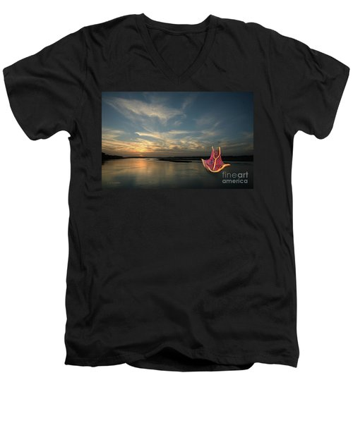 Red Sails In The Sunset Men's V-Neck T-Shirt