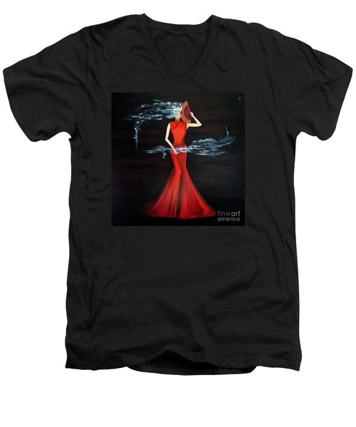 Scented Red Color Men's V-Neck T-Shirt