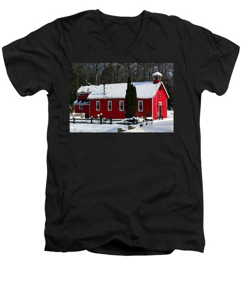 Red Schoolhouse At Christmas Men's V-Neck T-Shirt by Desiree Paquette