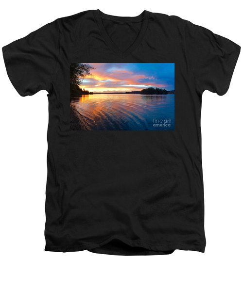 Red Sky At Night Men's V-Neck T-Shirt by Sean Griffin