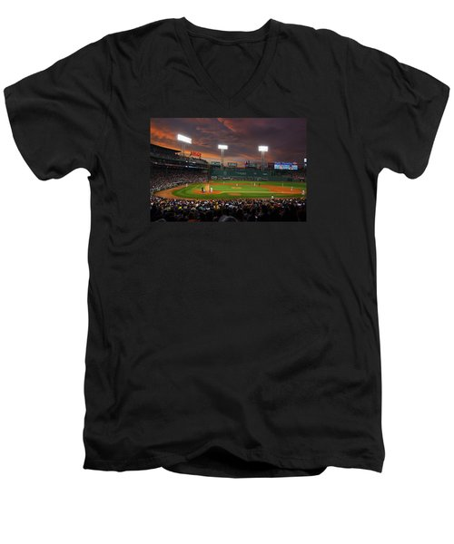 Red Sky Over Fenway Park Men's V-Neck T-Shirt