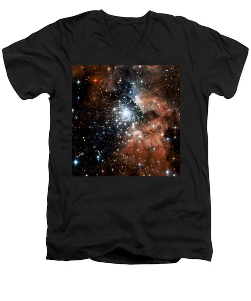 Red Smoke Star Cluster Men's V-Neck T-Shirt by Jennifer Rondinelli Reilly - Fine Art Photography