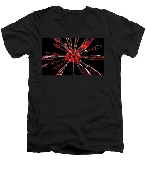 Red Spires Of Glass Men's V-Neck T-Shirt