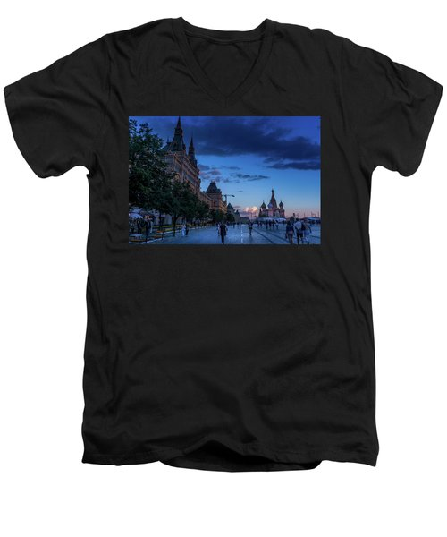 Red Square At Dusk Men's V-Neck T-Shirt