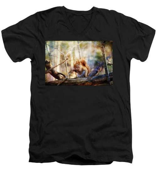 Red Squirrel With Pinecone Men's V-Neck T-Shirt