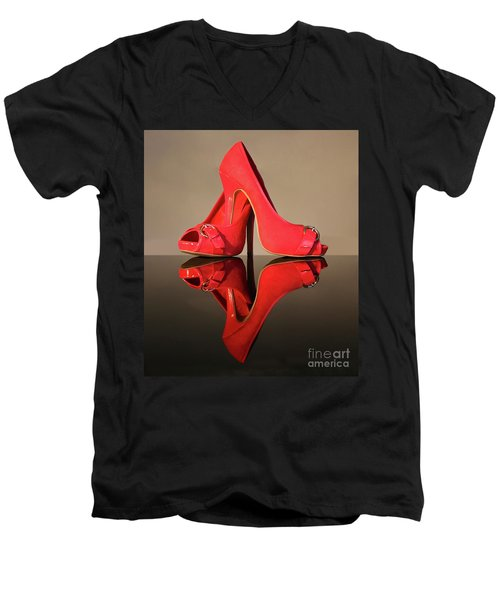 Men's V-Neck T-Shirt featuring the photograph Red Stiletto Shoes by Terri Waters