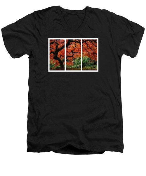 Red Tree Men's V-Neck T-Shirt by James Roemmling
