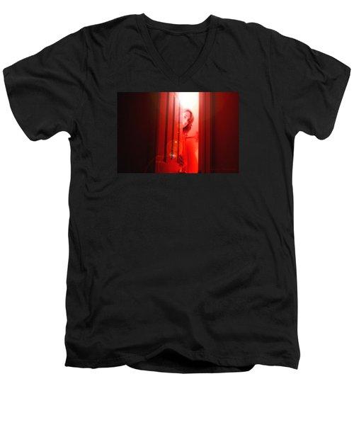 Red Unfocused Men's V-Neck T-Shirt