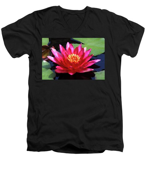 Red Water Lily - Palette Knife Men's V-Neck T-Shirt