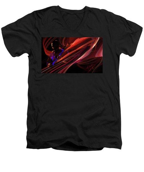 Red Waves Of Blues Men's V-Neck T-Shirt