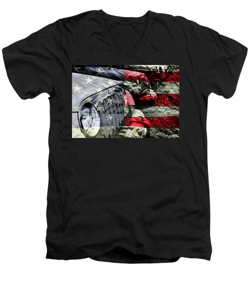 Red White And Jeep Men's V-Neck T-Shirt