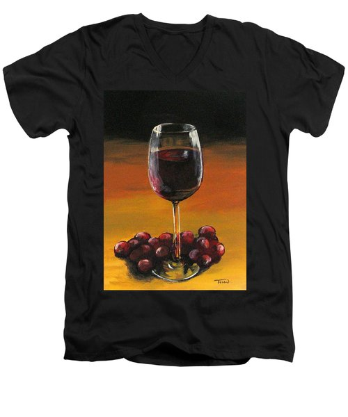 Red Wine And Red Grapes Men's V-Neck T-Shirt