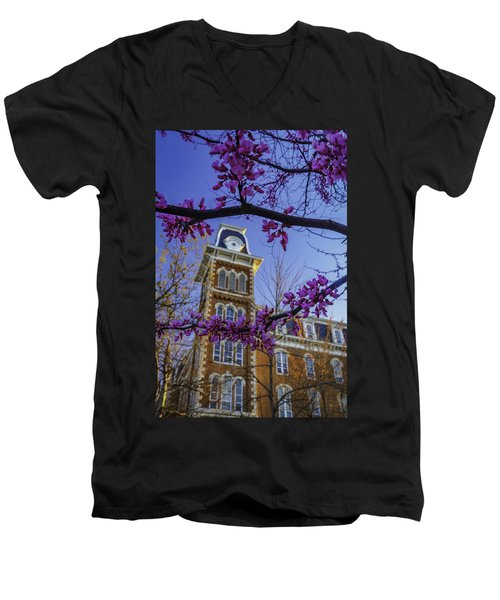 Redbud At Old Main Men's V-Neck T-Shirt by Damon Shaw