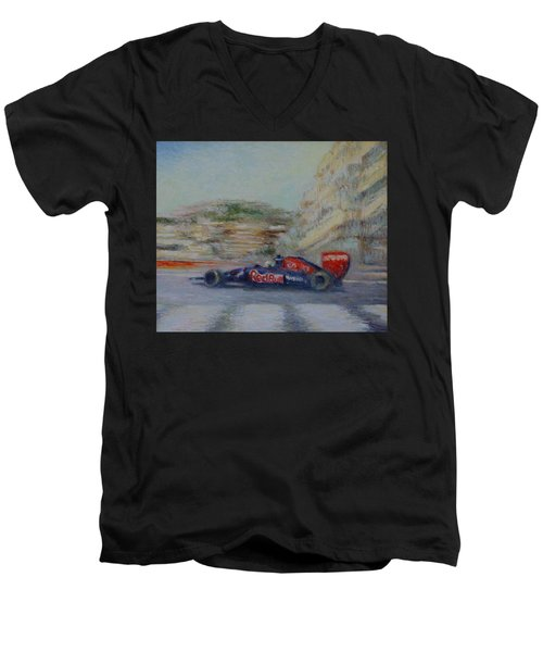 Redbull Racing Car Monaco  Men's V-Neck T-Shirt
