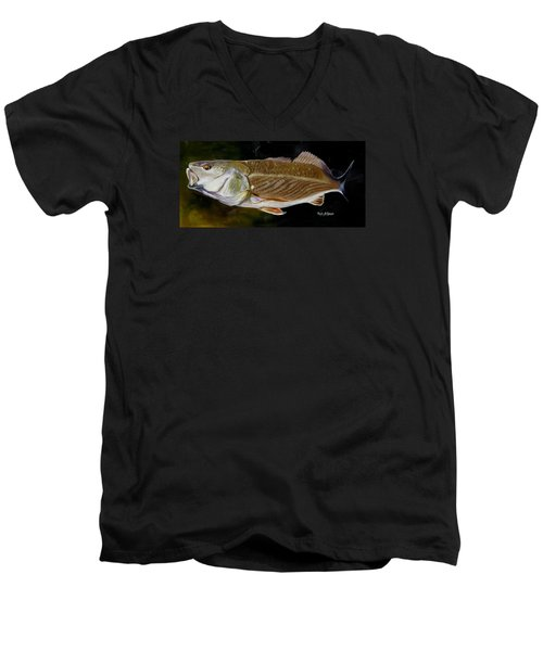Men's V-Neck T-Shirt featuring the painting Redfish Study  by Phyllis Beiser